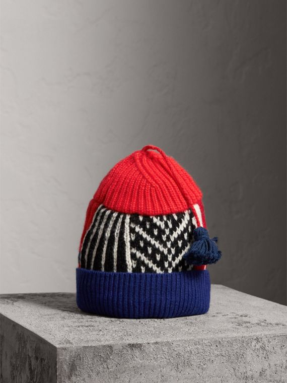 Cashmere Wool Blend Patchwork Beanie in Coral Red
