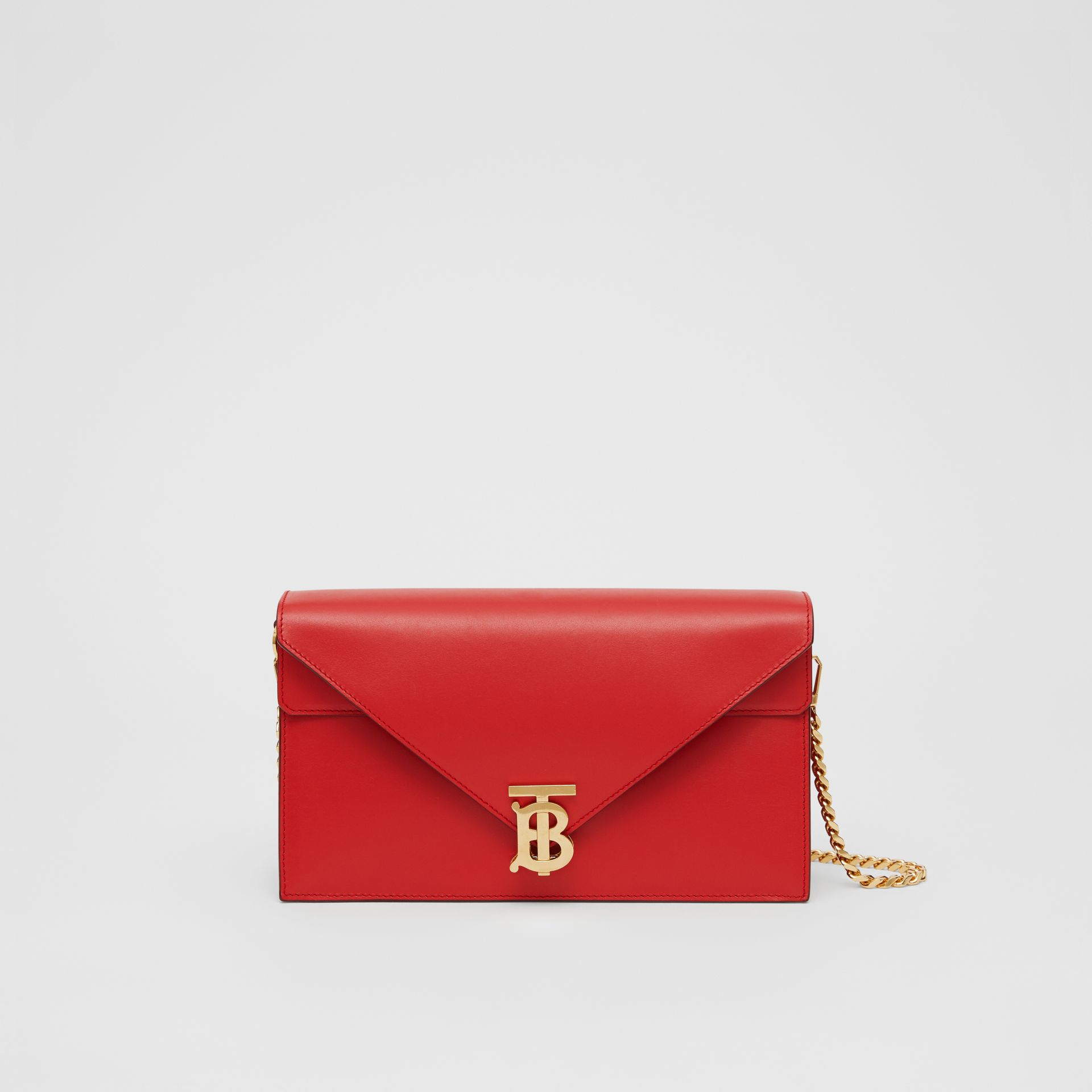 Small Leather TB Envelope Clutch in Bright Military Red - Women | Burberry - gallery image 0