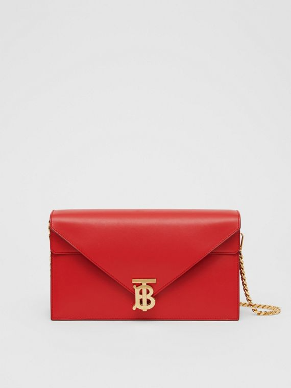 Small Leather TB Envelope Clutch in Bright Military Red