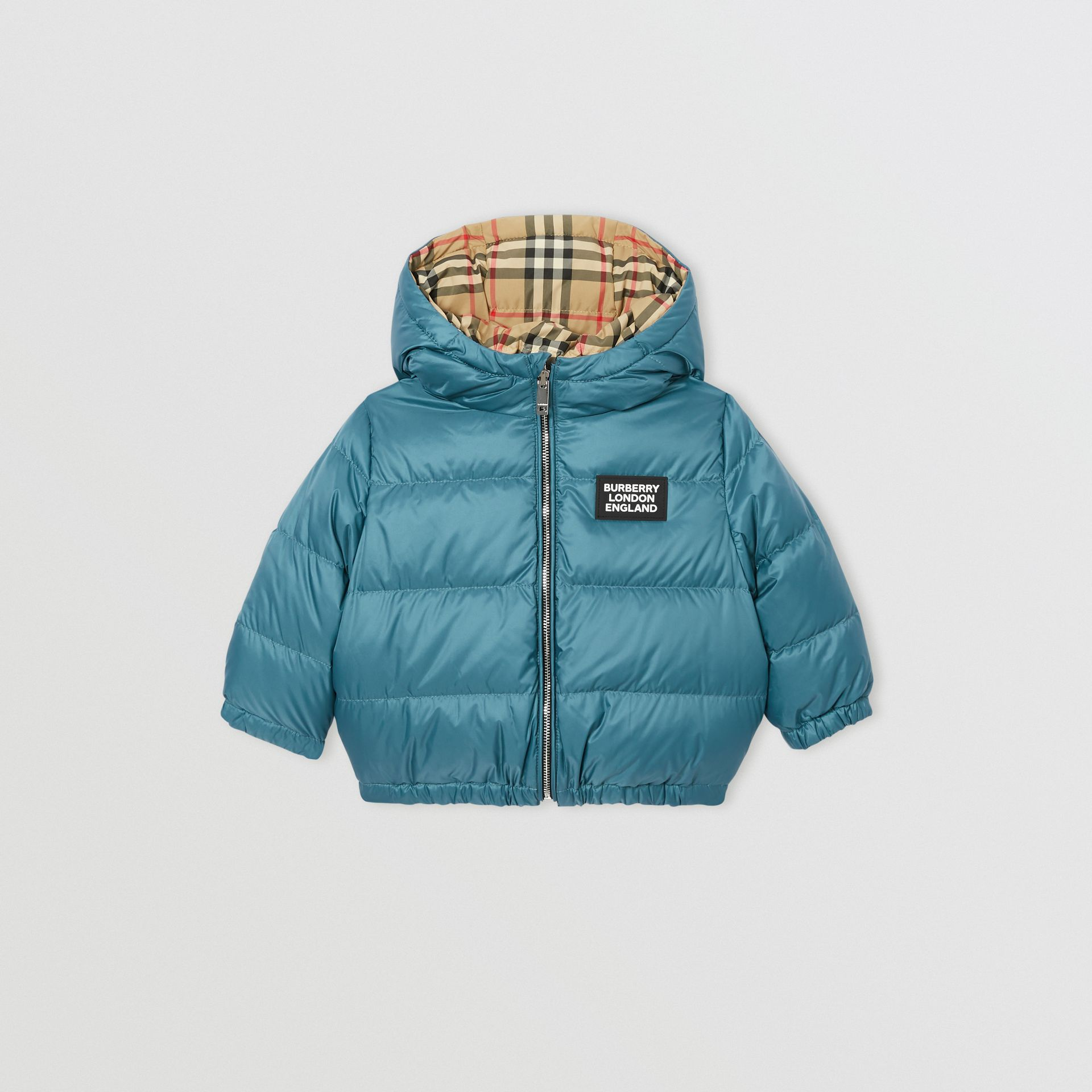Reversible Vintage Check Down-filled Puffer Jacket in Dusty Blue - Children | Burberry Australia - gallery image 0