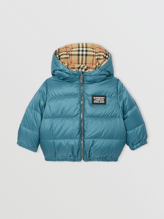 Reversible Vintage Check Down-filled Puffer Jacket in Dusty Blue