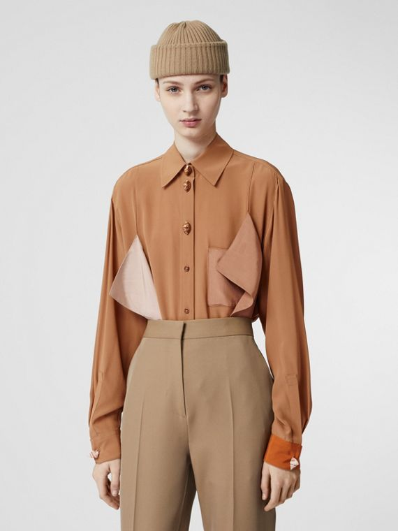 Drape Detail Silk Oversized Shirt in Biscuit