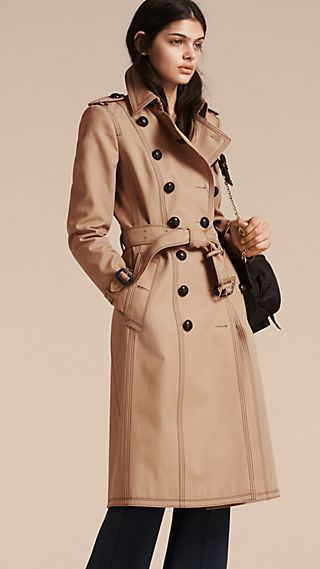 Slim Fit Cotton Trench Coat with Topstitching