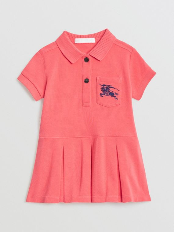 EKD Logo Cotton Polo Dress in Bright Pink