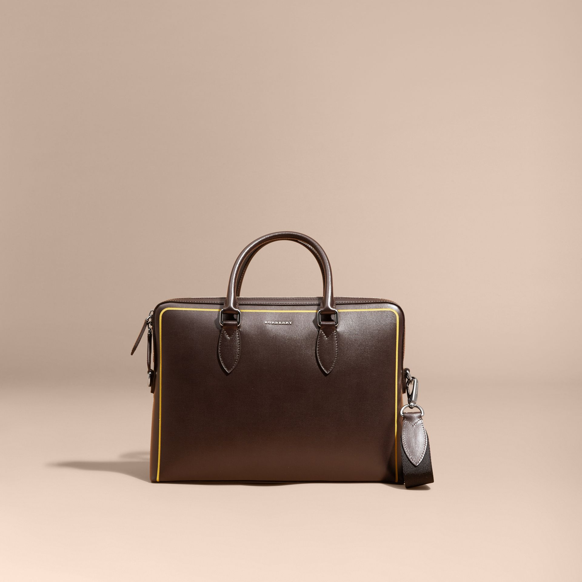The Slim Barrow Bag in London Leather with Border Detail Peppercorn - gallery image 9