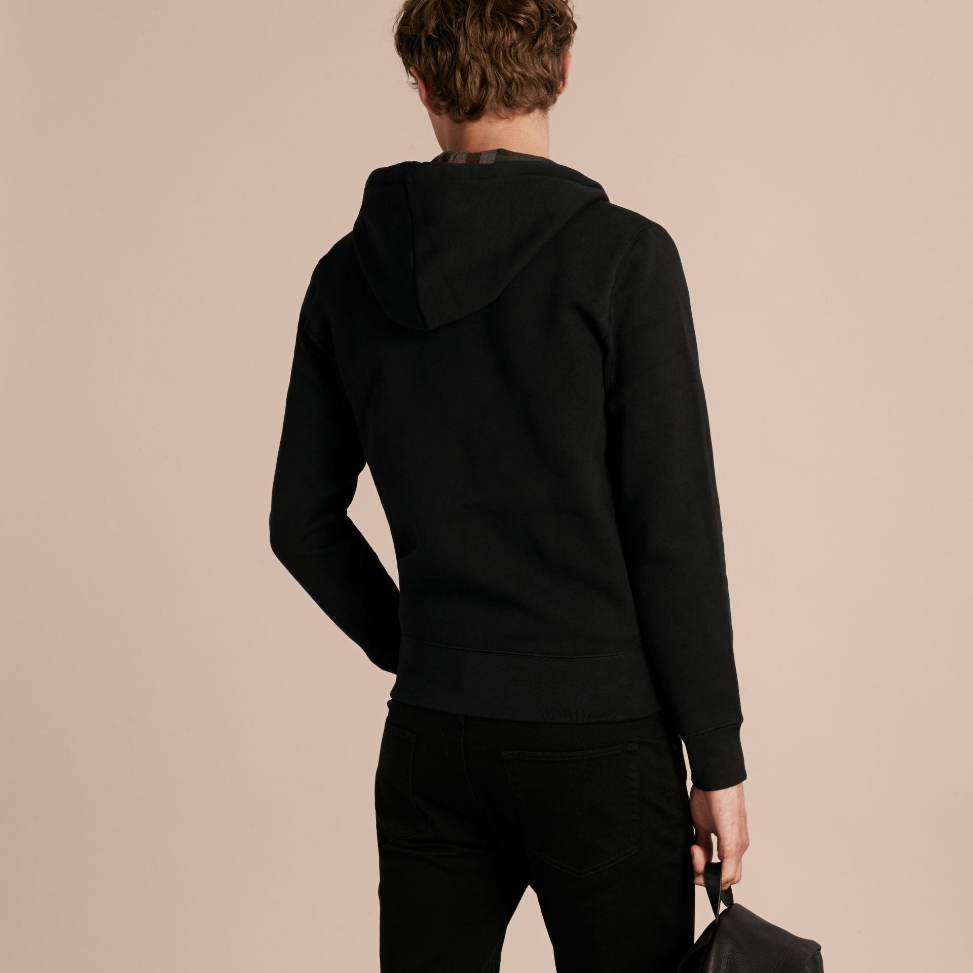 Black Hooded Cotton Jersey Top Black - gallery image 3
