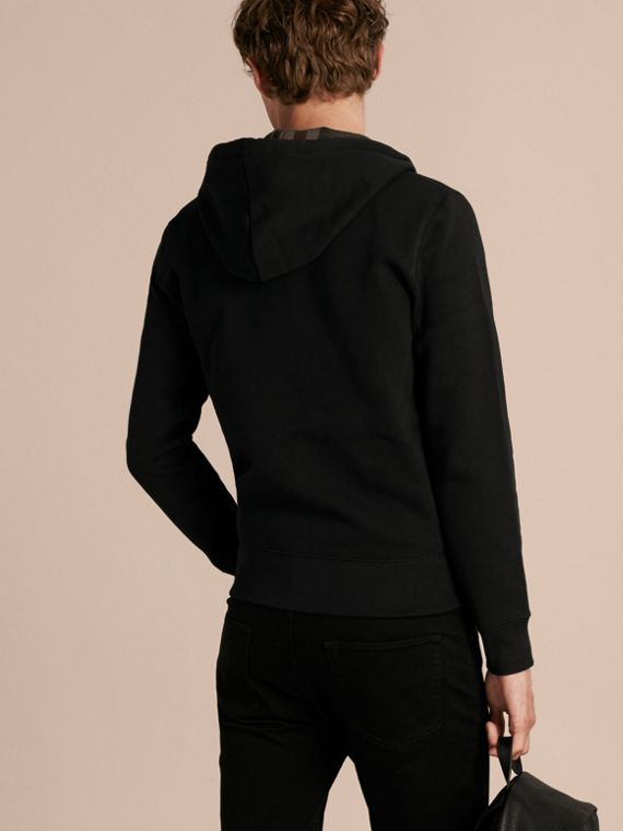 Black Hooded Cotton Jersey Top Black - cell image 2