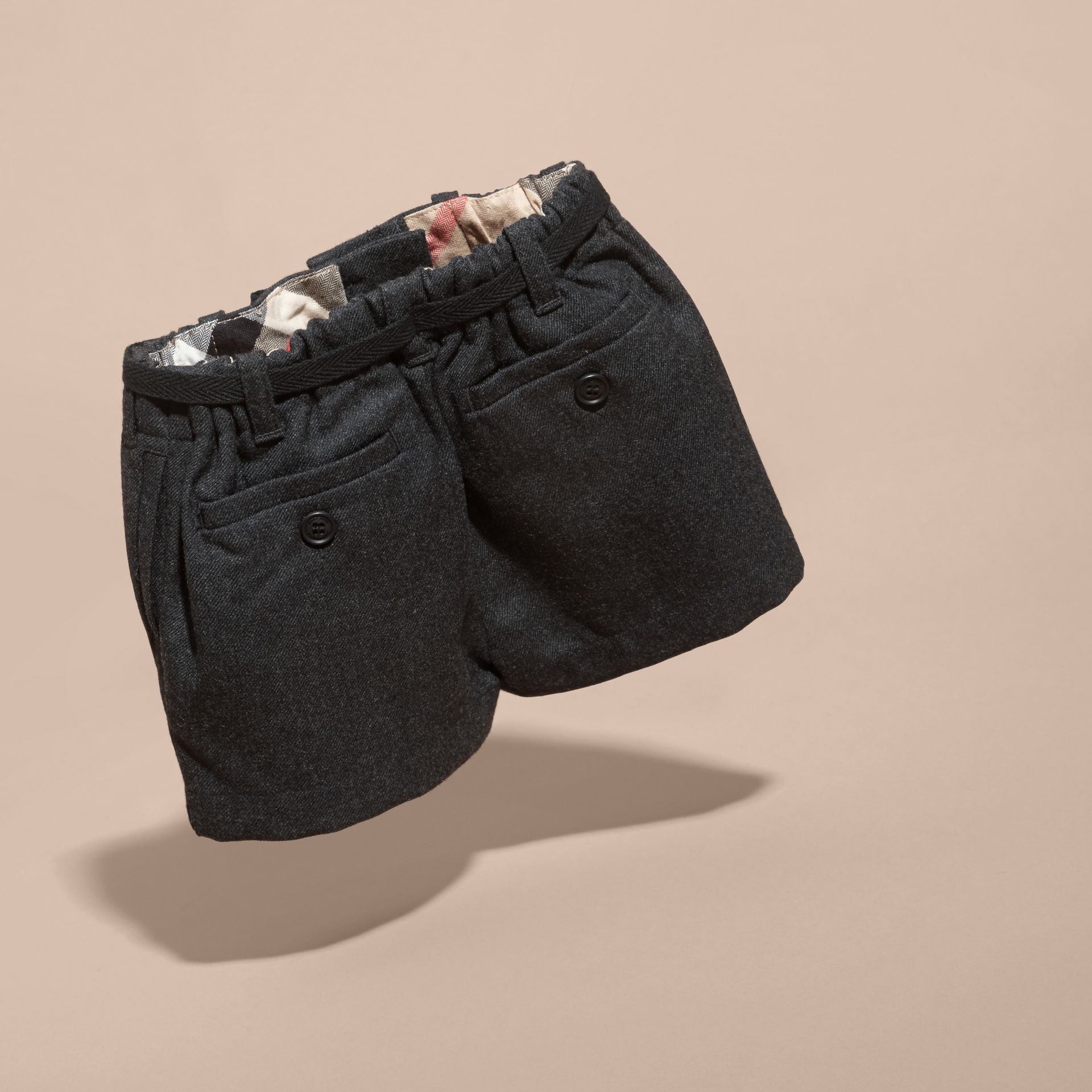 Charcoal melange Belted Wool Shorts - gallery image 4