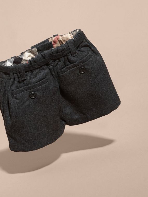 Charcoal melange Belted Wool Shorts - cell image 3