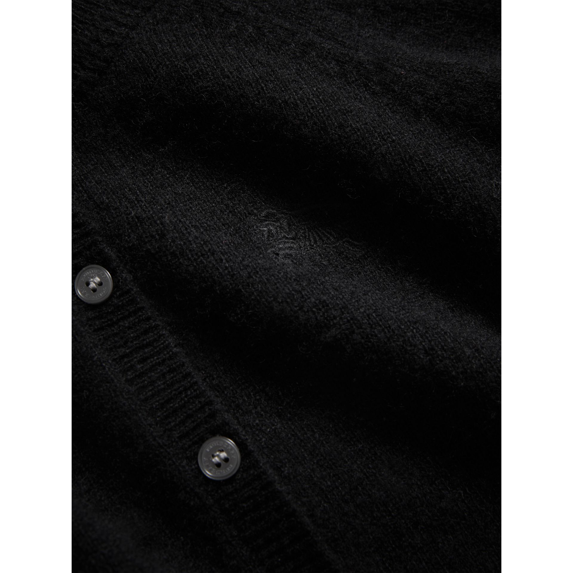 Check Detail Cashmere Cardigan in Black - Girl | Burberry - gallery image 1