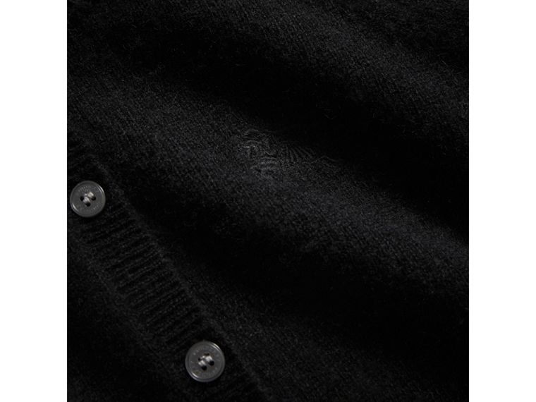 Check Detail Cashmere Cardigan in Black - Girl | Burberry - cell image 1