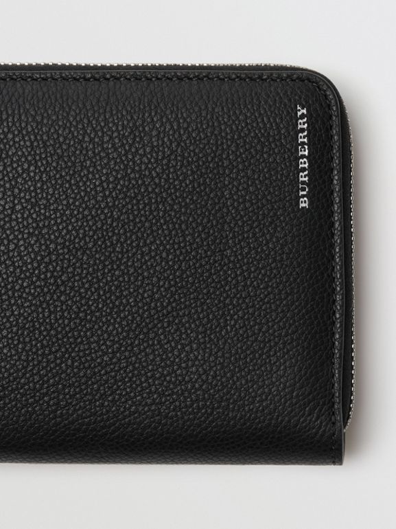Grainy Leather Ziparound Wallet in Black - Men | Burberry United Kingdom - cell image 1