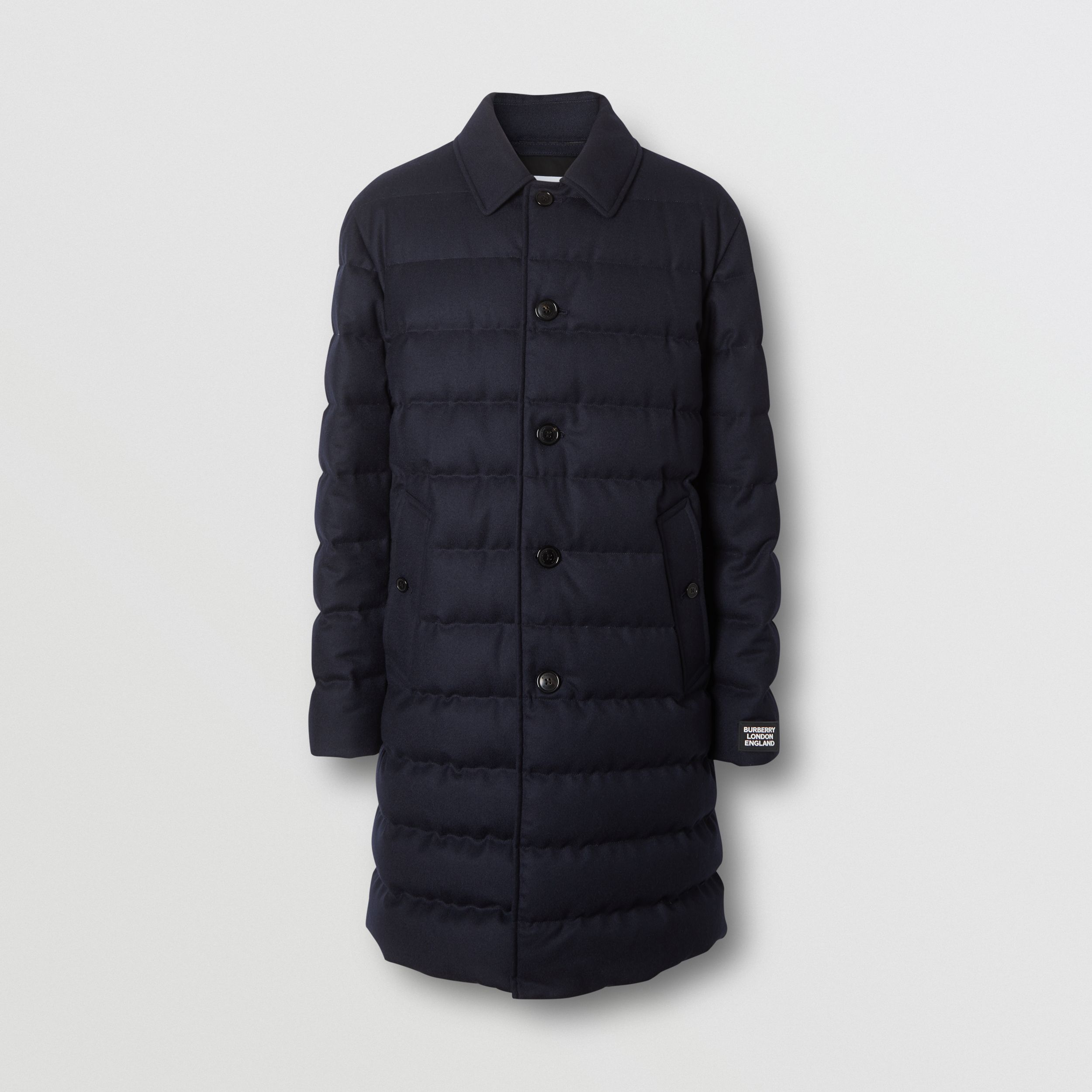 Wool Puffer Coat in Navy - Men | Burberry - 4