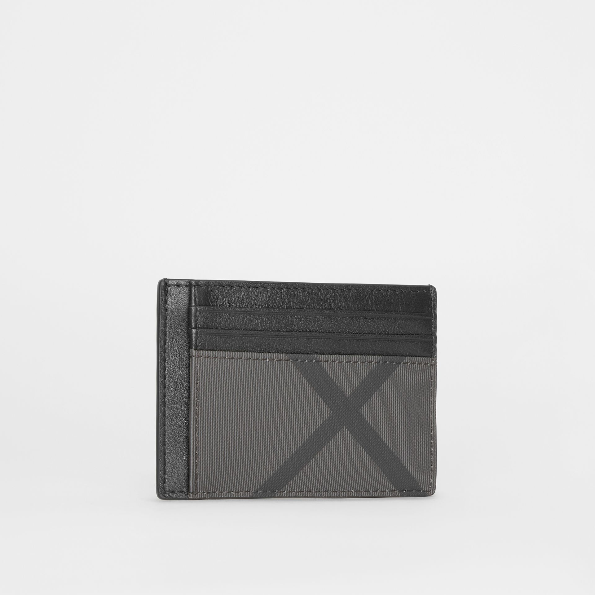 London Check and Leather Money Clip Card Case in Charcoal/black - Men | Burberry - gallery image 3