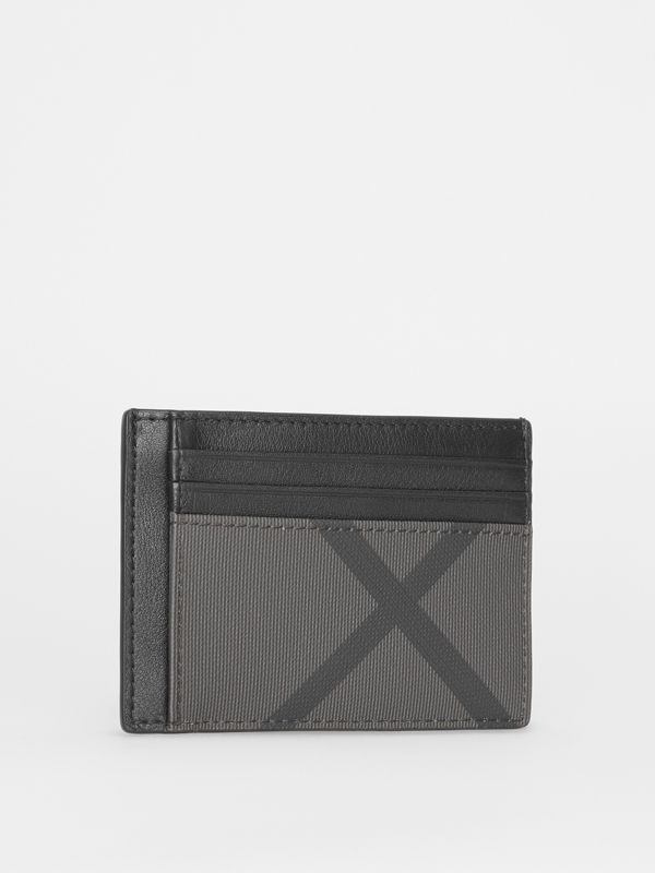 London Check and Leather Money Clip Card Case in Charcoal/black - Men | Burberry - cell image 3