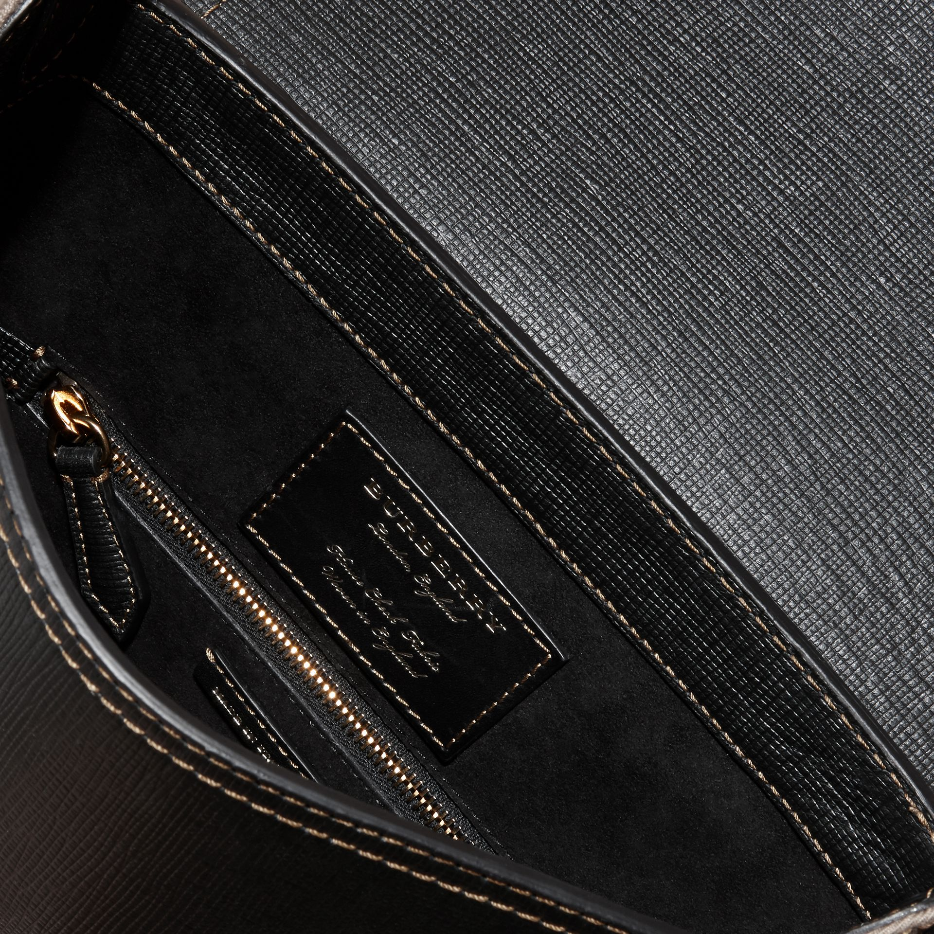 Black The Medium Satchel in Textural Leather and House Check - gallery image 6