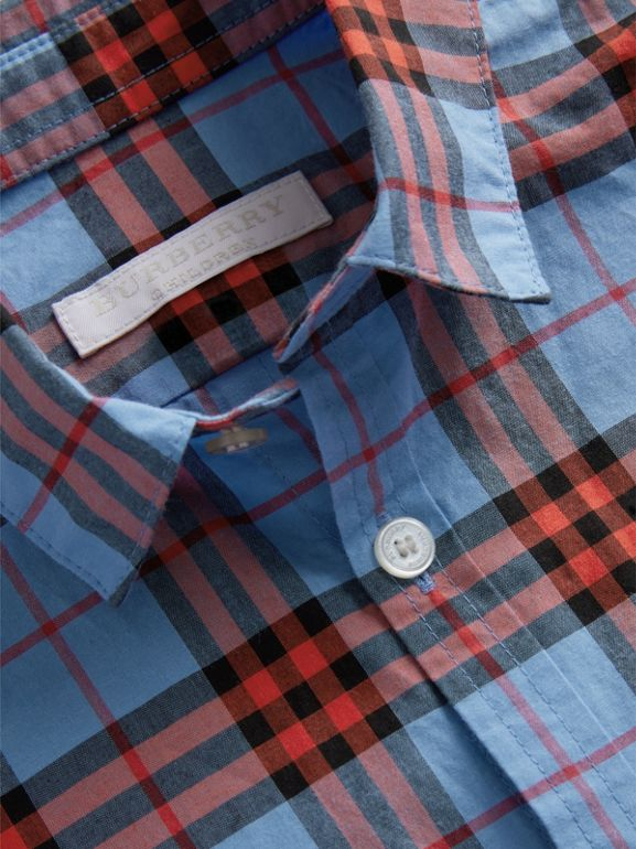 Short-sleeve Check Cotton Shirt in Cornflower Blue - Boy | Burberry - cell image 1