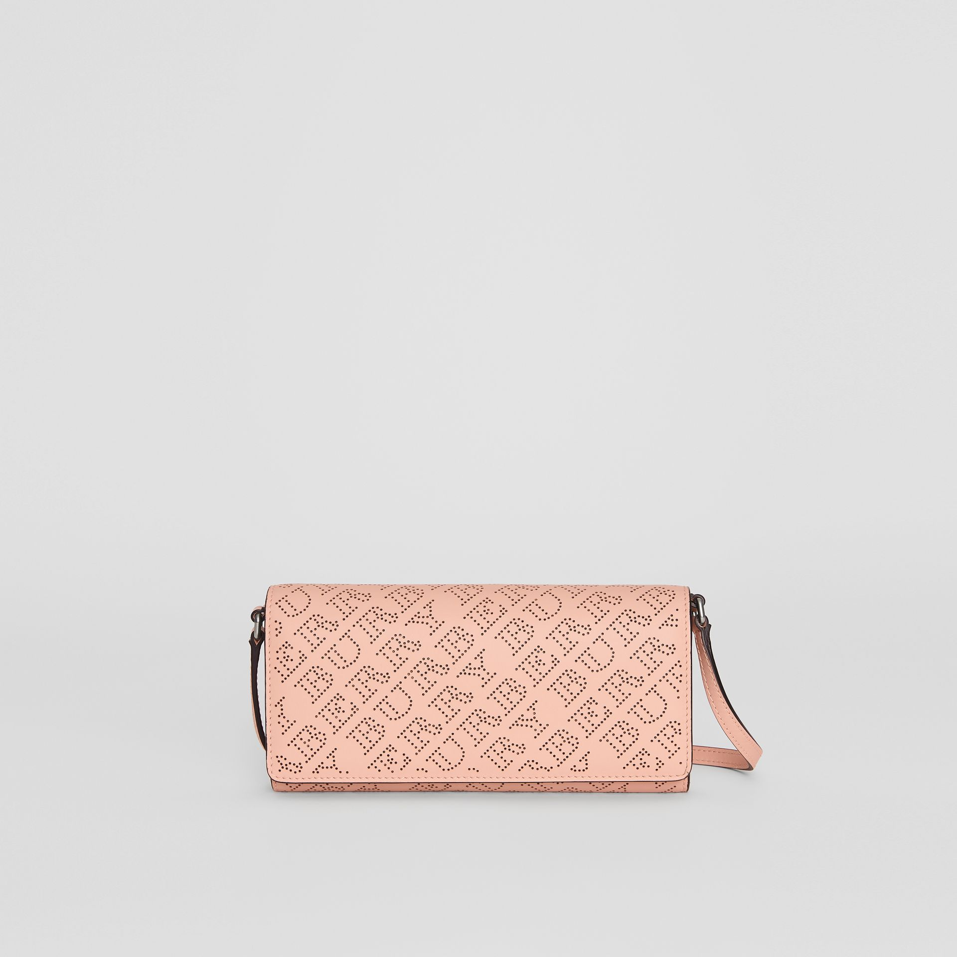 Perforated Logo Leather Wallet with Detachable Strap in Pale Fawn Pink - Women | Burberry United Kingdom - gallery image 0