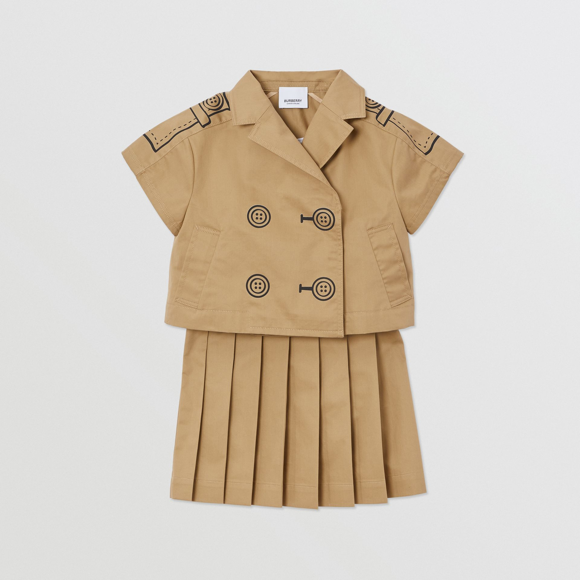 Trompe L'Oeil Cotton Trench Dress Two-piece Set in Honey | Burberry Singapore - gallery image 0
