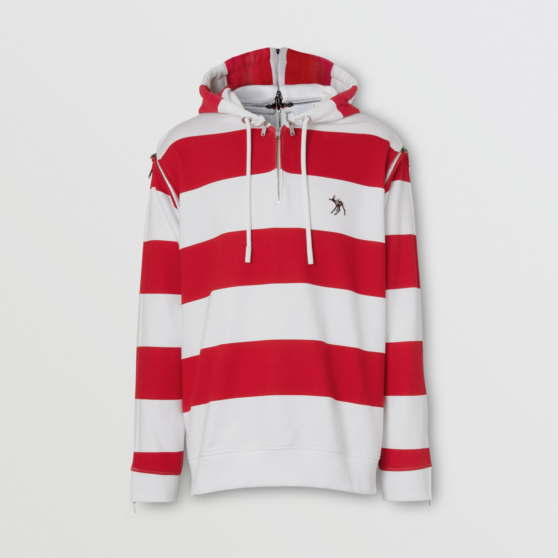 Zip Detail Striped Cotton Hoodie in Red | Burberry - gallery image 3