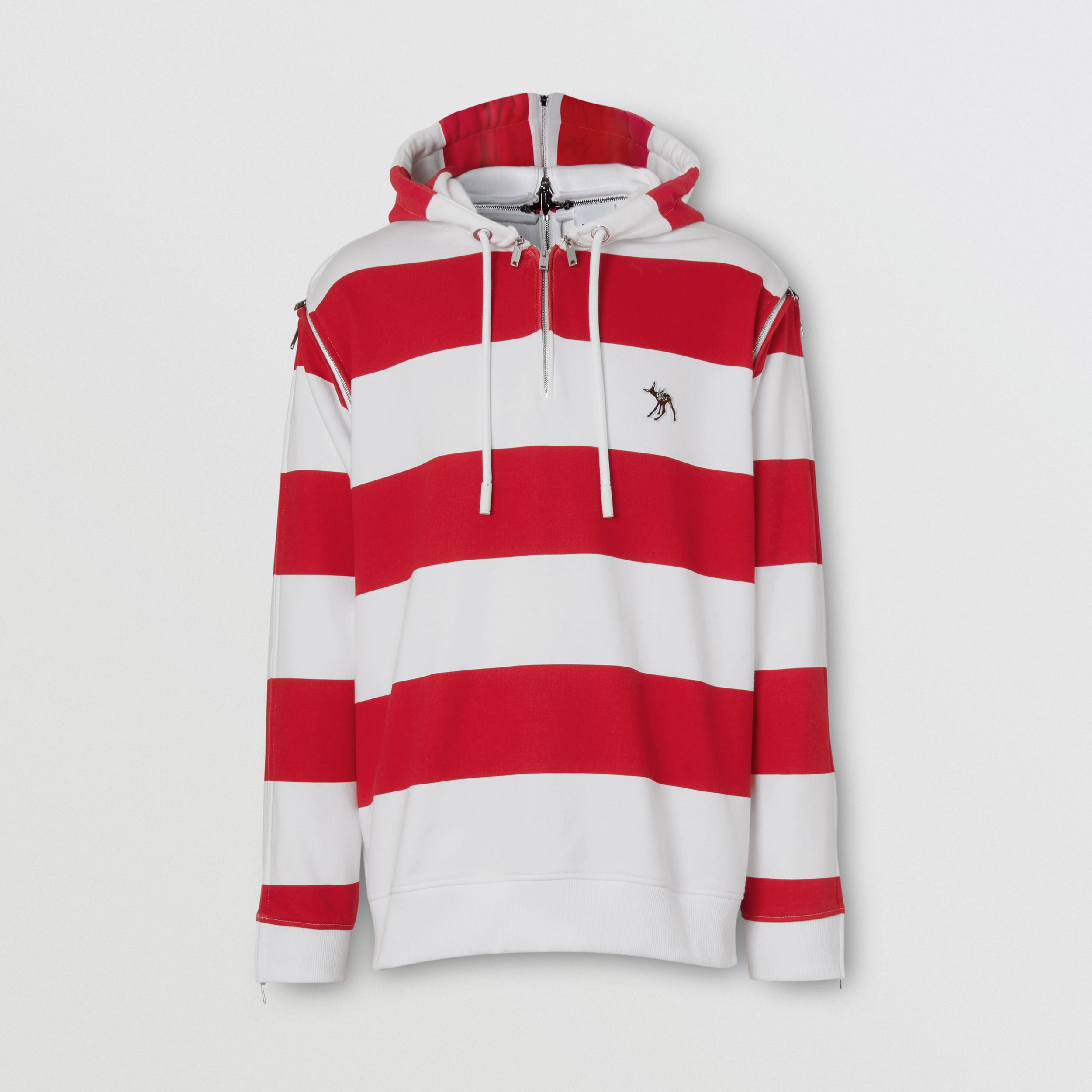 Zip Detail Striped Cotton Hoodie in Red - Men | Burberry - 4