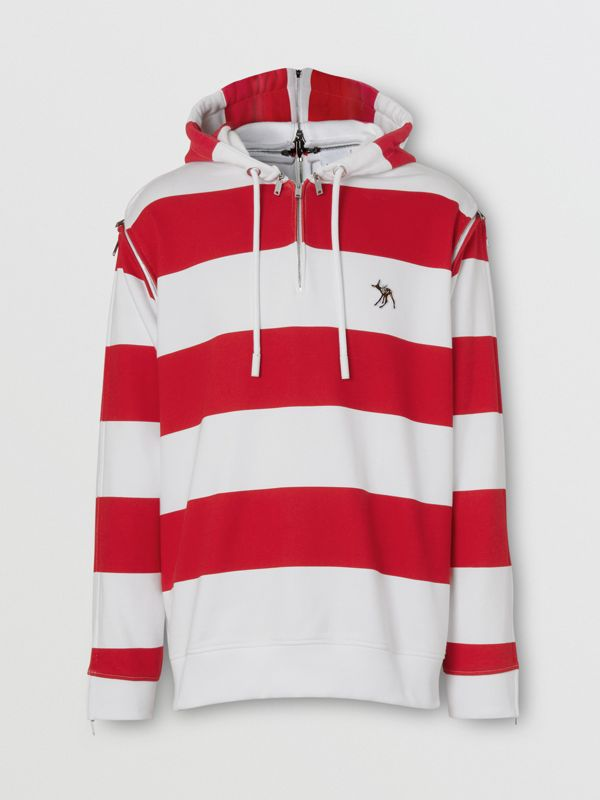Zip Detail Striped Cotton Hoodie in Red | Burberry - cell image 3
