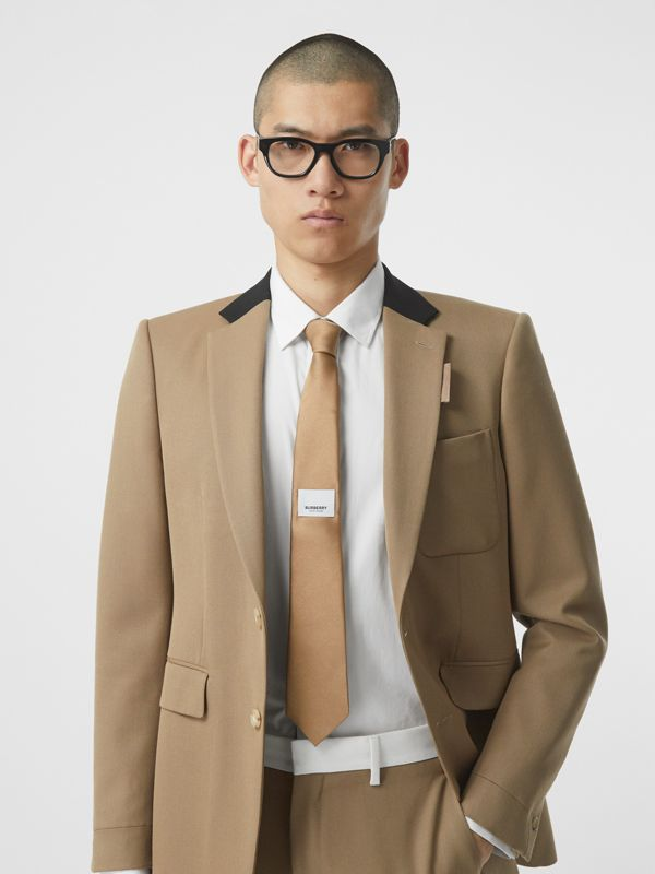 Logo Label Classic Cut Silk Tie in Light Fawn - Men | Burberry United Kingdom - cell image 2