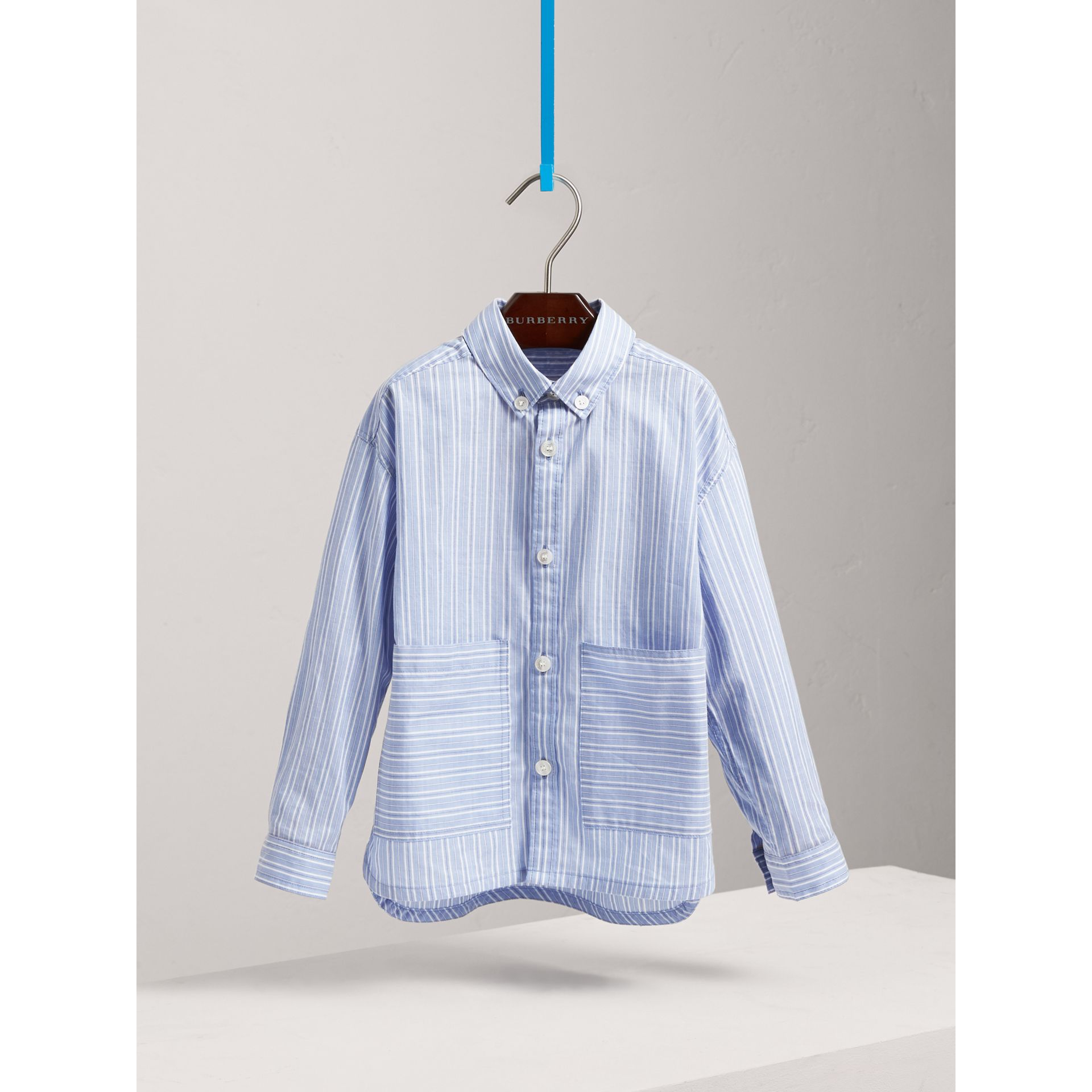 Contrast Pocket Cotton Shirt in City Blue | Burberry - gallery image 0