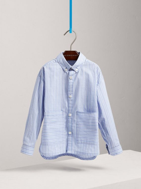 Contrast Pocket Cotton Shirt in City Blue