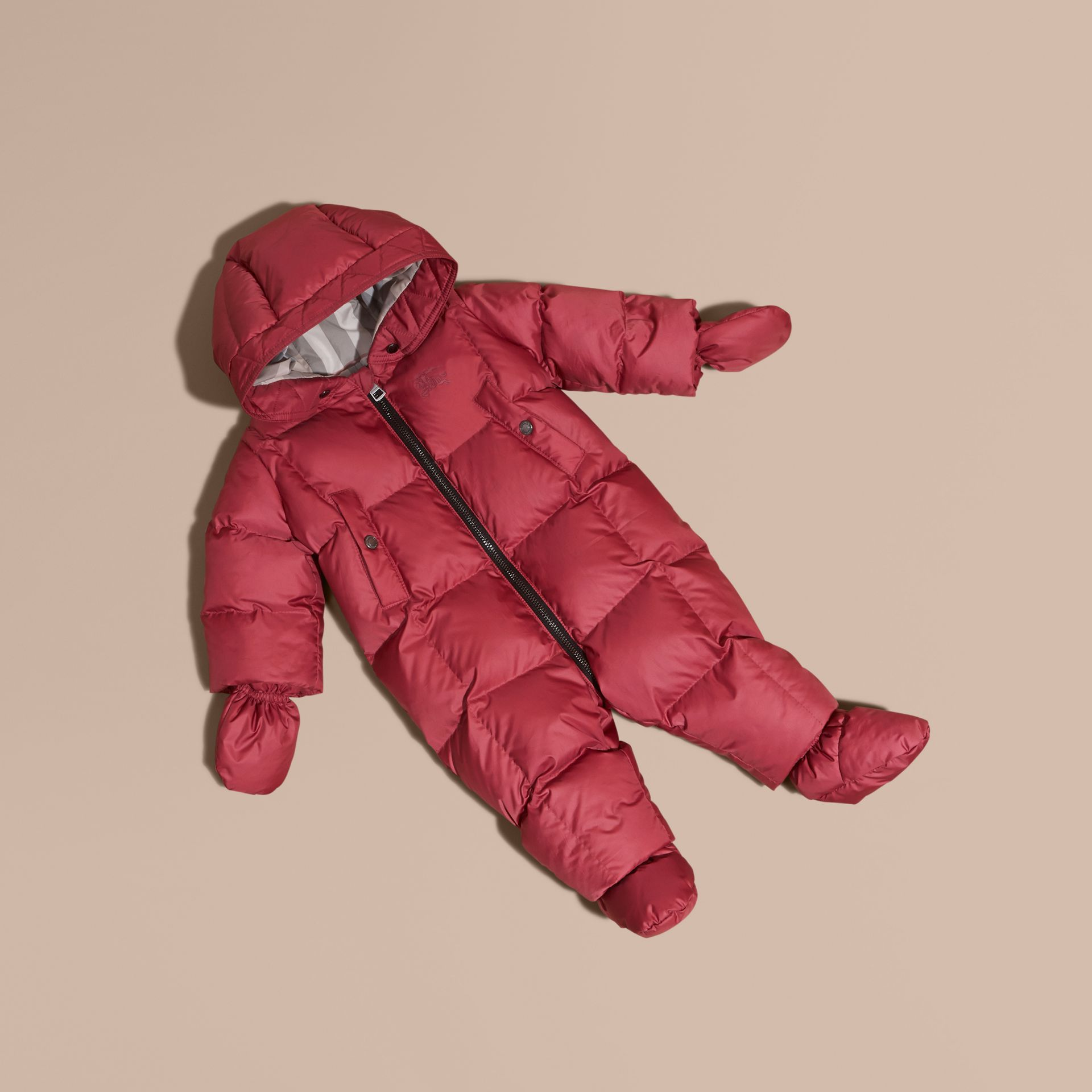 Down-filled Puffer Suit in Peony Rose - gallery image 1
