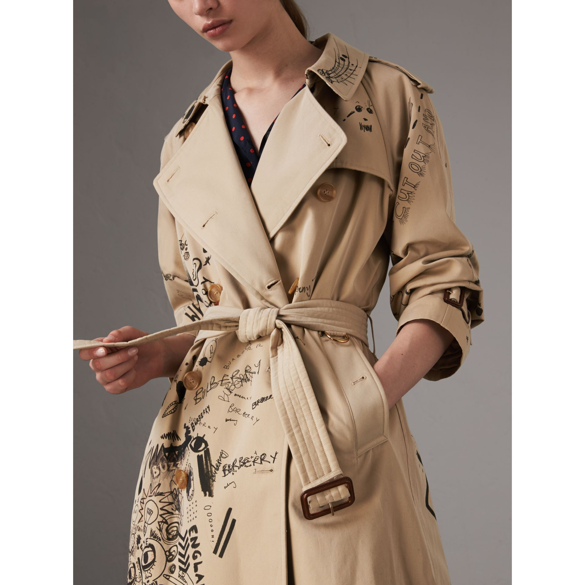 Sketch Print Cotton Gabardine Trench Coat in Honey - Women | Burberry Singapore - gallery image 1