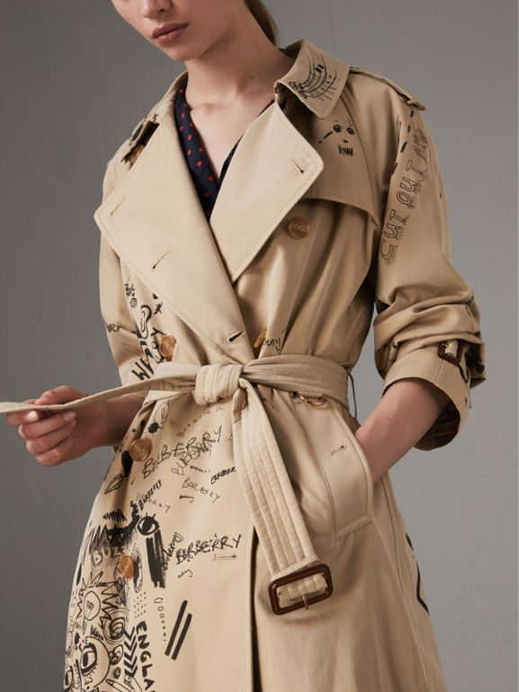 Sketch Print Cotton Gabardine Trench Coat in Honey - Women | Burberry United States - cell image 1