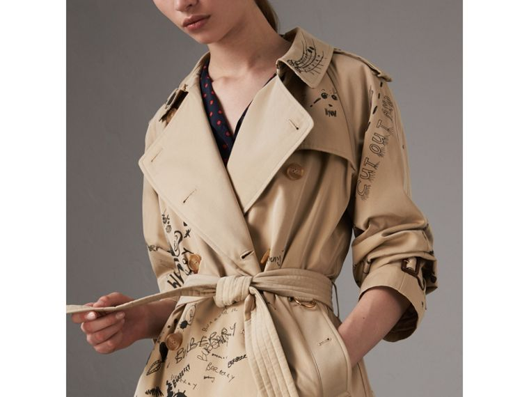 Sketch Print Cotton Gabardine Trench Coat in Honey - Women | Burberry - cell image 1