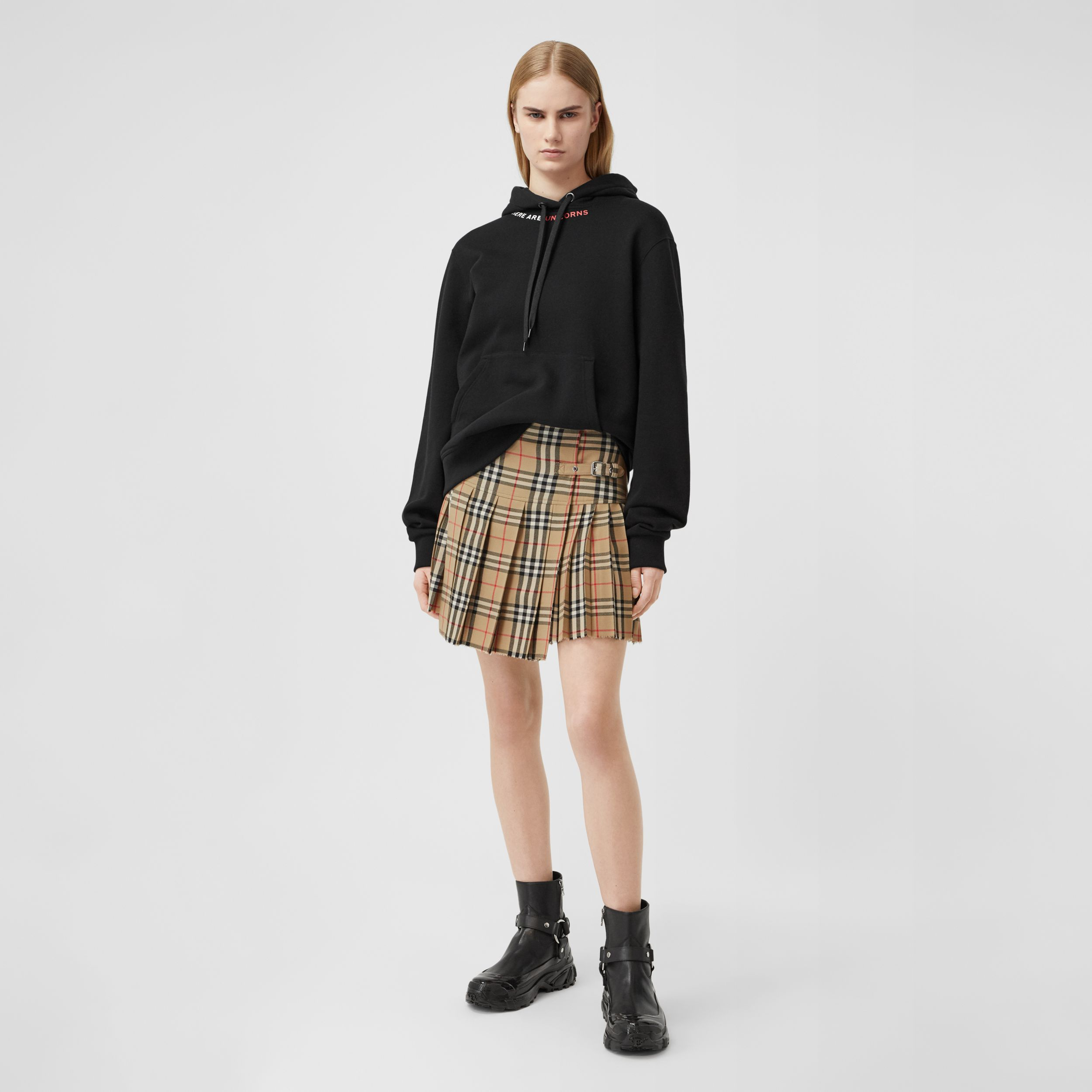 Vintage Check Wool Kilt in Archive Beige - Women | Burberry - 1