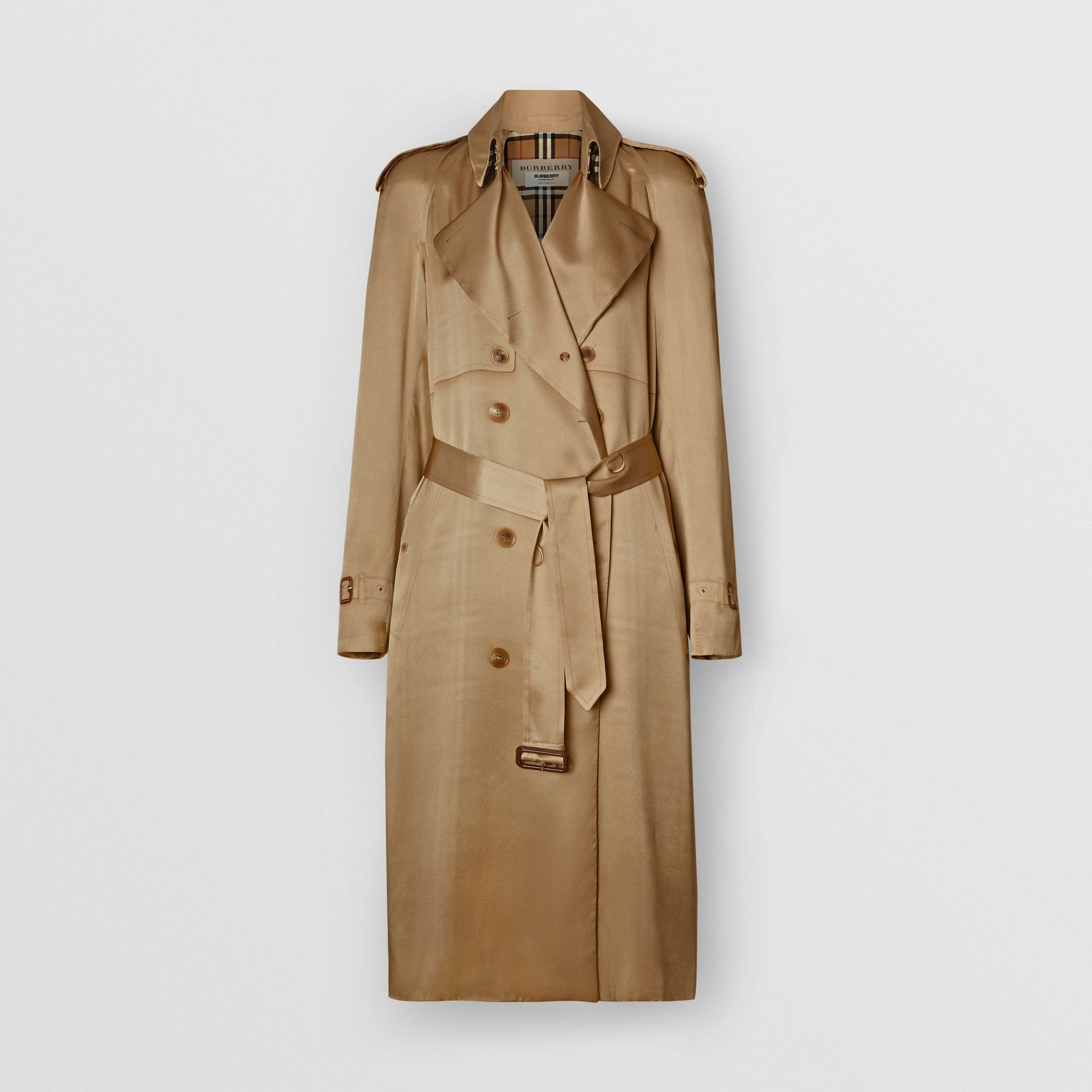 Silk Wrap Trench Coat in Honey - Women | Burberry - gallery image 3