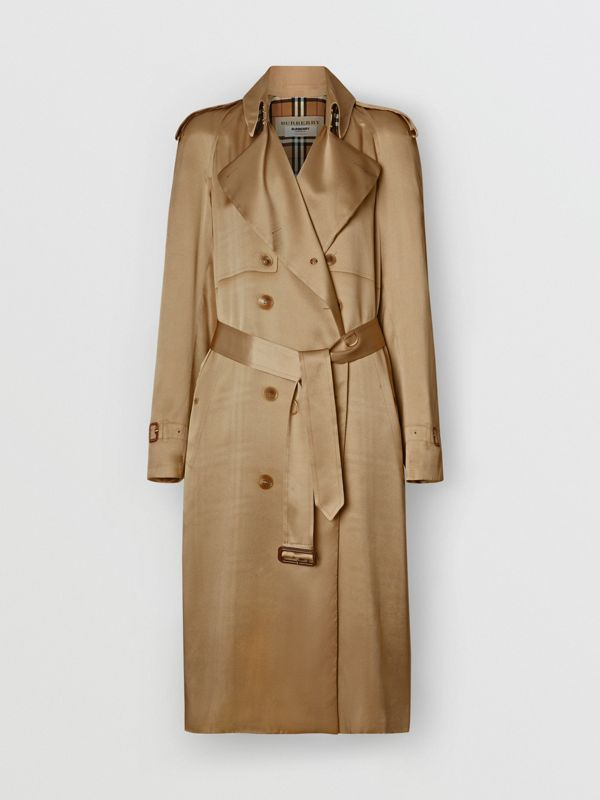 Silk Wrap Trench Coat in Honey - Women | Burberry - cell image 3
