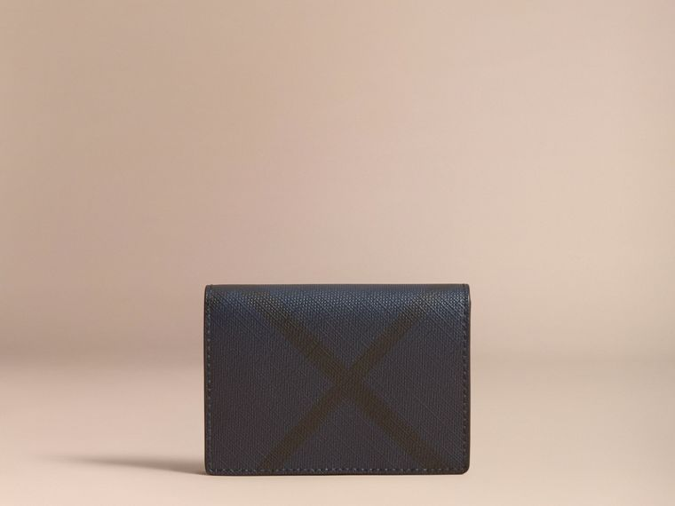 London Check and Leather Folding Card Case in Navy/black - Men | Burberry - cell image 4