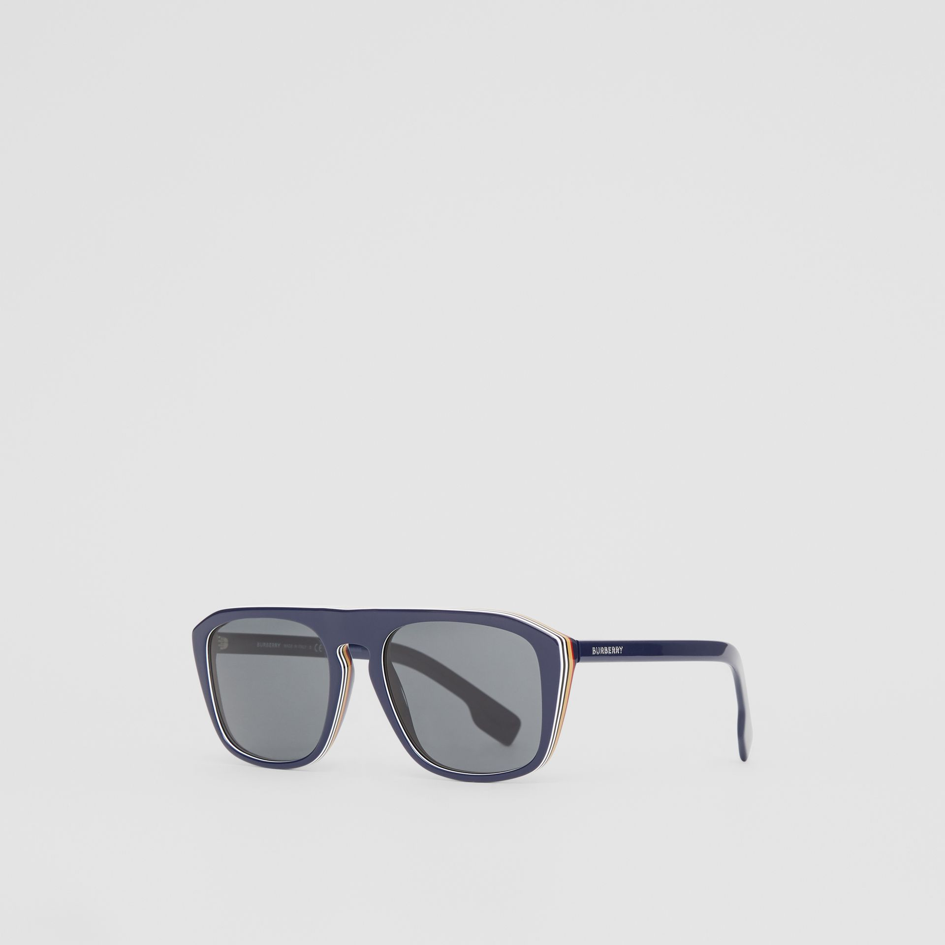 Icon Stripe Detail Square Frame Sunglasses in Blue - Men | Burberry United Kingdom - gallery image 5