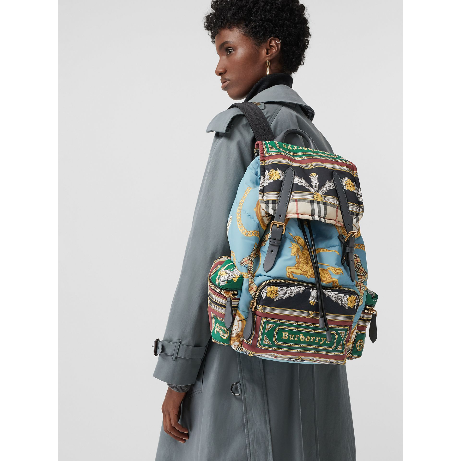 The Large Rucksack in Archive Scarf Print in Pale Stone Blue | Burberry - gallery image 6