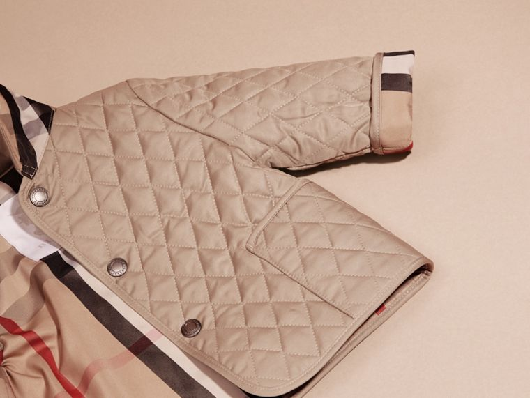 Check Detail Diamond Quilted Jacket in Mink | Burberry Canada - cell image 1
