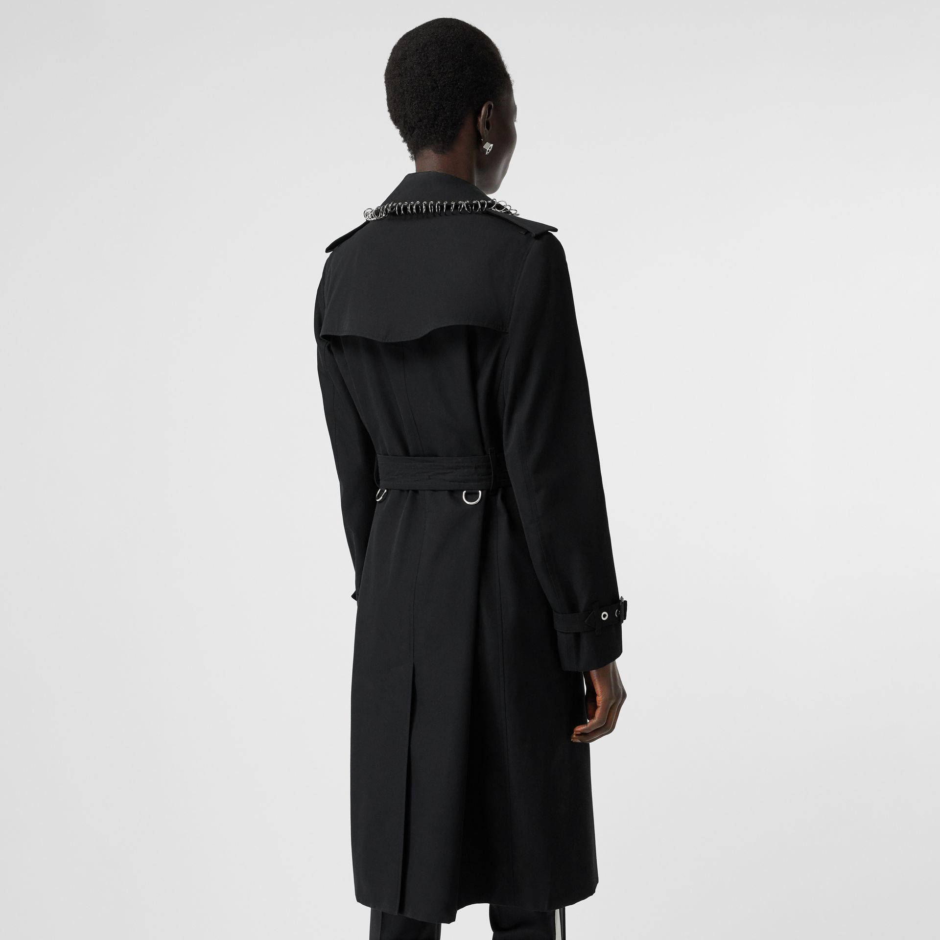 Ring-pierced Cotton Gabardine Trench Coat in Black - Women | Burberry - gallery image 2