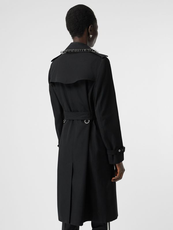 Trench coat in gabardine di cotone con piercing (Nero) - Donna | Burberry - cell image 2