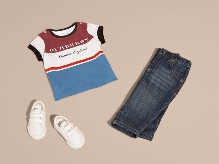 Multi Stripe Cotton T-shirt in Claret - cell image 4