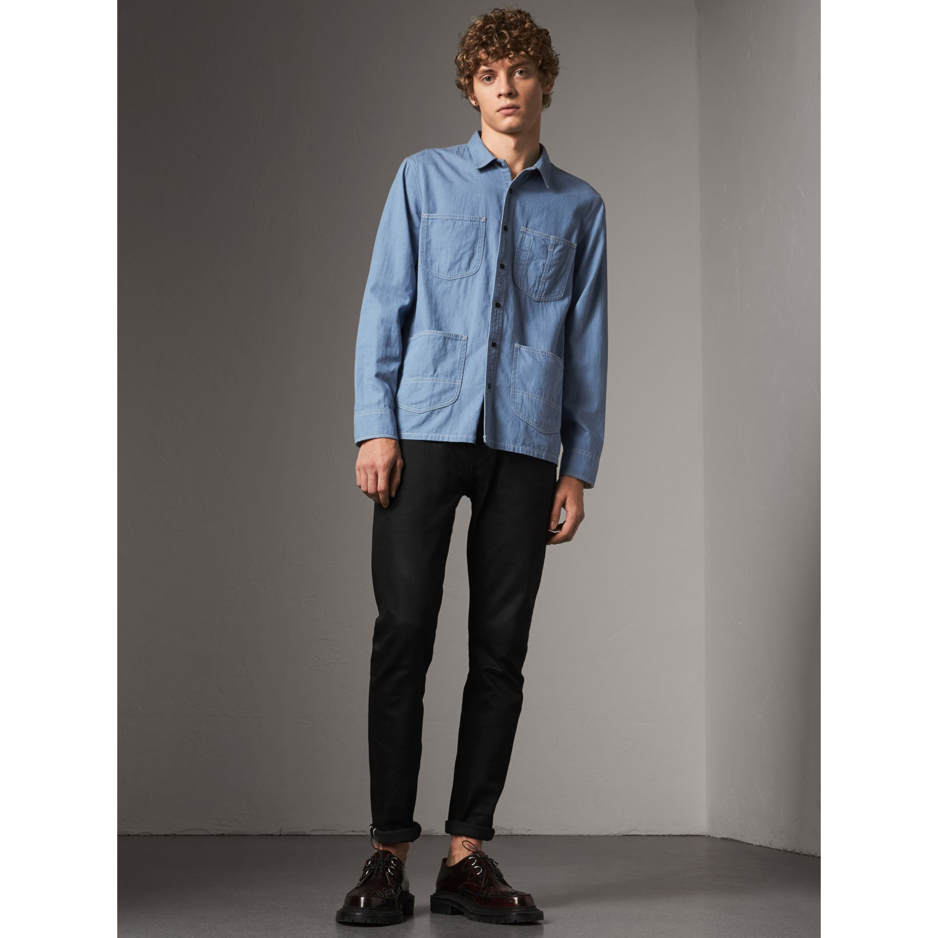 Japanese Denim Work Shirt in Light Blue - Men | Burberry United Kingdom - gallery image 5