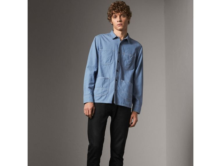 Japanese Denim Work Shirt in Light Blue - Men | Burberry United Kingdom - cell image 4