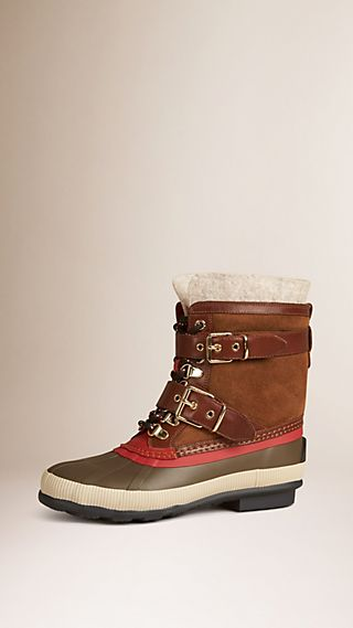 Sueded Shearling and Check Duck Boots