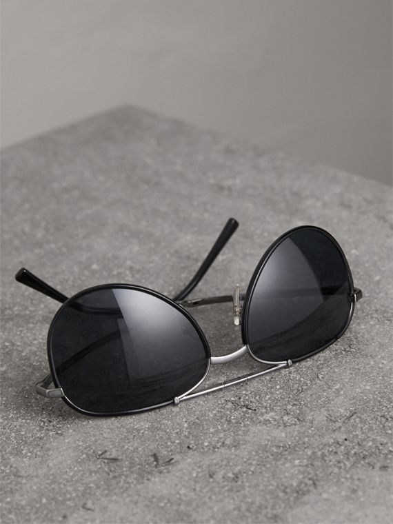 Folding Pilot Sunglasses in Black - Men | Burberry United States - cell image 2