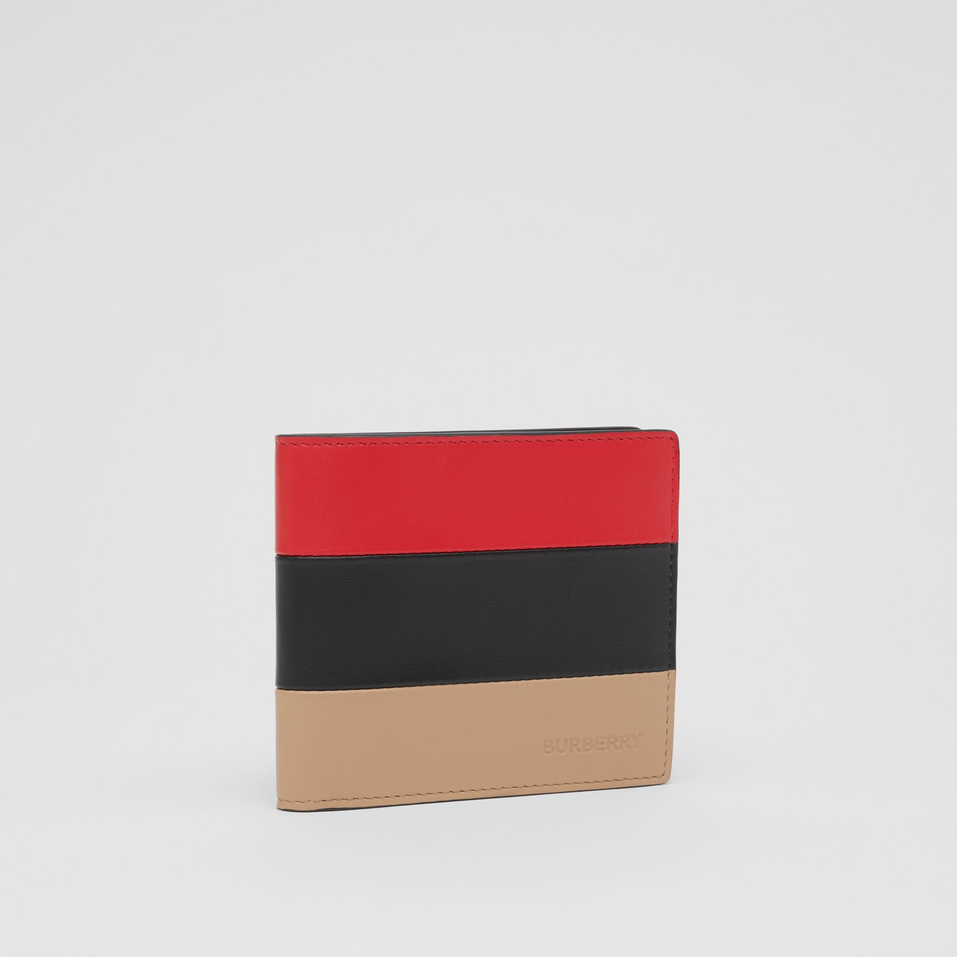 Colour Block Leather International Bifold Wallet in Red/black/beige - Men | Burberry Hong Kong S.A.R - gallery image 3