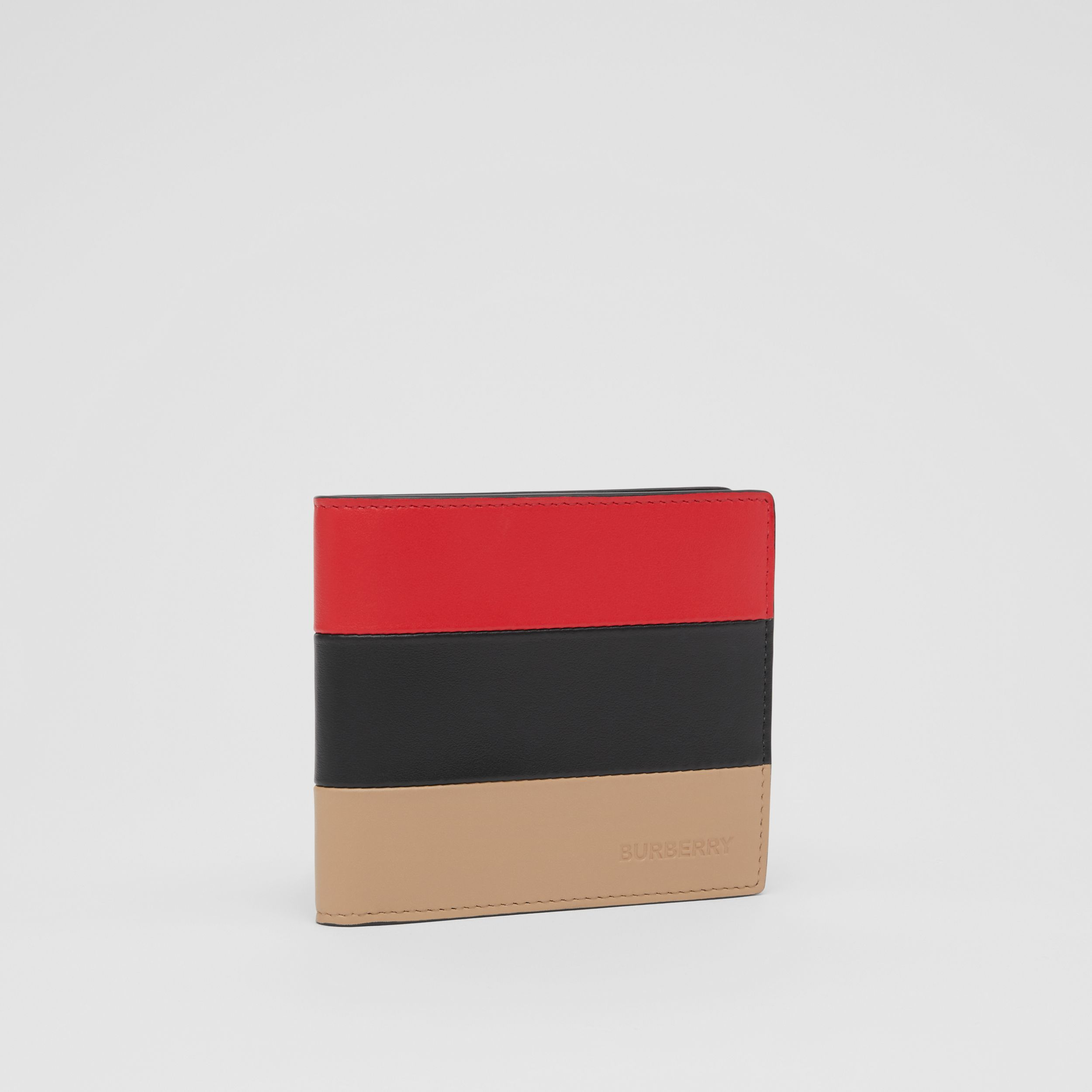 Colour Block Leather International Bifold Wallet in Red/black/beige - Men | Burberry - 4