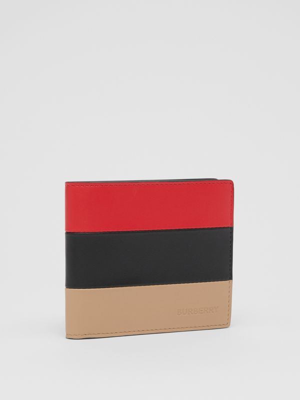Colour Block Leather International Bifold Wallet in Red/black/beige - Men | Burberry - cell image 3